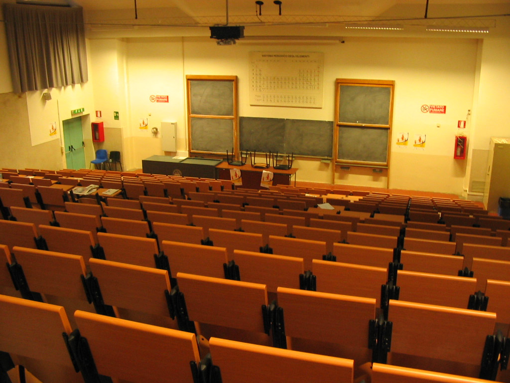 Inside a lecture hall at the Polytechnical University of Turin